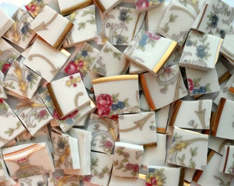 Dark Pink Roses on White Vintage Porcelain Mosaic Tiles/ Broken Dish Mosaic Tiles/ Shabby Chic/ Vintage Mosaic Tiles/ China Mosaic Tiles/