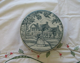 1950s Vintage Butter Mints Candy Tin Antebellum Scene Old Southern Mansion
