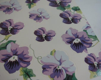 "Stickers - 44 Purple Sweet Violet  Stickers / Seals Waverly ""Garden Room"" Line - Scrapbooking Cards Tag Gift Craft Art Supply"