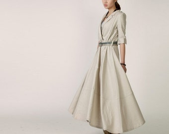 "Spring Dress Shirt Style Sleeves Loose Fitting ""V"" Collar Long Linen Dress in Light Khaki(more colour and size choice)-NS08"