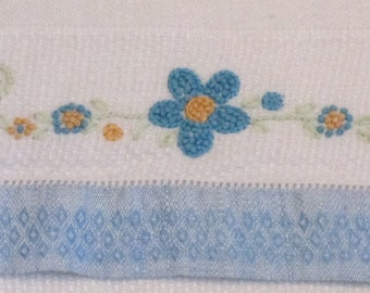 Vintage Very Large Guest Towel - Ivory Monk Cloth with Blue Ends and Embroidered  French Knot Flowers