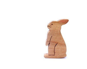 wooden waldorf rabbit toy, wooden toy bunny, wood toys, rabbit figurine, easter gift, wooden animal toys