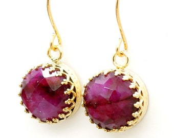 Ruby earrings set in gold filled dangle & lace design