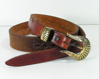 western  leather belt 31 32 brown western nocona cowboy cowgirl unisex vintage