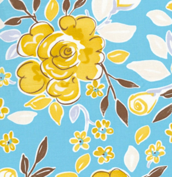 Blue darjeeling fabric by free spirit fabrics 1 2 yard for Dena designs tea garden