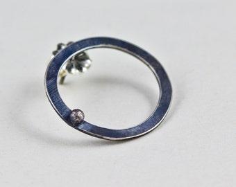 Bubble Stud Earrings,Black Sterling Silver Circle Earrings,Hoop Post Earrings,Minimalistic Modern Rustic Geometric Earrings,Aluma Earrings