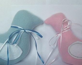 Baby Blue or Pink Fleece Dove Plush Stuffed Animal