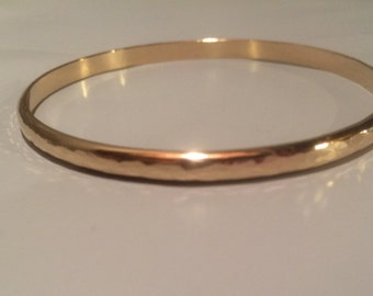 14kt SOLID gold wide bangle bracelet, yellow gold, half round,4mm wide, 2mm thick, hammered or smooth,