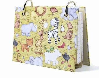 Baby zoo animals 3 x 5 or 4 x 6 index card binder, baby journal book with tab dividers, index card holder, baby shower gift