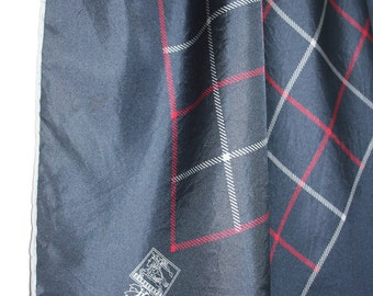 Scarf by Burberry's. Navy blue, red, gray, checkers, linear, vintage, classic,  silk, Burberry, France.