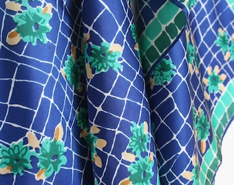 Funky retro Vera scarf with geometric and floral design. Royal blue scarf. emereald green scarf, tan, white, oblong scarf, flower power.