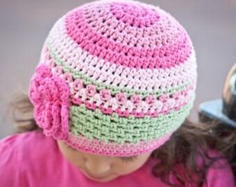 Pretty in Pink Beanie - Crochet Hat Pattern No.P114 Digital Baby Toddler Kid PDF