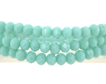 Faceted Rondelle Crystal Glass Beads 3x4mm Opaque Turquoise 145pcs / BZ0499