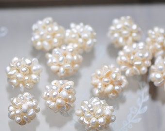 10pcs  Pearl Ball Cluster  Freshwater Pearl 14mm / 18mm White -(PL10)