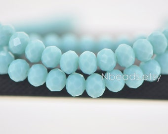Rondelle Crystal Glass Faceted beads 6x8mm Opaque Baby Blue- (BZ08-106)/ 70pcs
