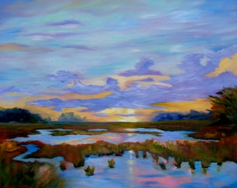 Giclee Sunset on the Marsh Landscape from Original Impressionist Oil Painting by Rebecca Croft Studios