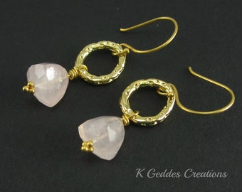Rose Quartz Earring, Gold Rose Quartz Dangle Earrings, Pink Gemstone Earrings Pink Hoop Earrings, Trillion Pyramid Stone, Vermeil Dangle