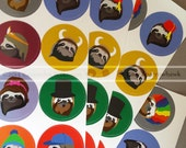 Sloth Stickers- single sheet of 8 stickers