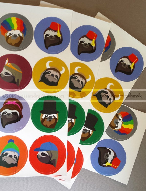 Sloth Stickers Single Sheet Of 8 Stickers From