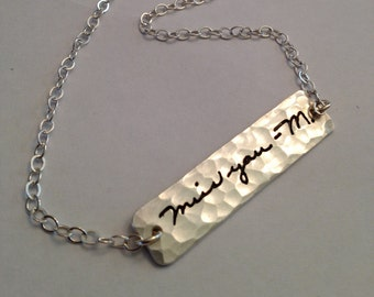 Bar Necklace  Memorial  Signature Jewelry - Your Actual Loved Ones Writing Silver Necklace choose chain length  - Made to order