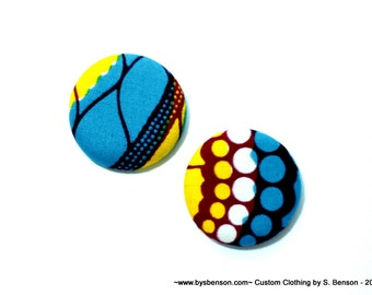 Fabric Covered  Button Earring - African Blue and Yellow Dots