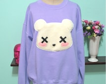 Kawaii Grunge Deaddy Bear Sweater - Dead Teddy Bear Oversized Sweatshirt Pastel Goth Soft Grunge