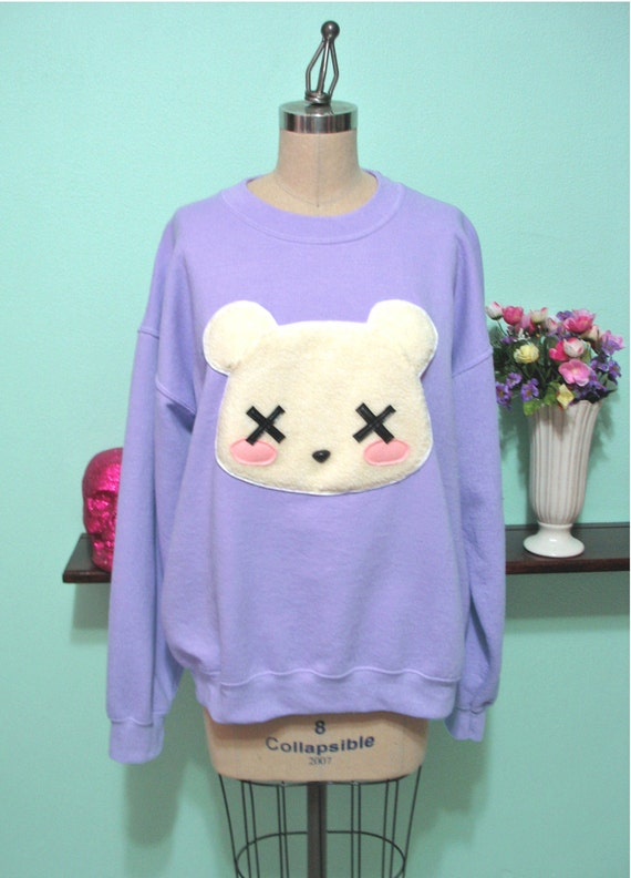Pastel Goth Kawaii Grunge Deaddy Bear , Dead Teddy Bear Oversized Sweatshirt
