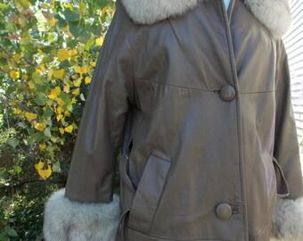 1960s vintage leather fur coat jacket vintage clothing