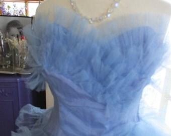 Vintage Pale blue 1950s tulle prom wedding dress