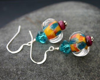 Her Colorful Earrings - Sterling Silver
