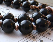 Black Pearl Necklace Single Strand Choose Your Length Wedding Jewelry Black and Copper Glass Pearls