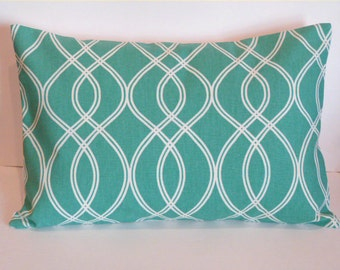 Pillow Cover. Teal. Ivory. Geometric. 12 x 18. Decorative Pillow Cover. Accent Pillow Cover