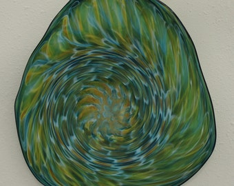Beautiful Hand Blown Glass Art Wall Platter Bowl Aqua/Gold 4667 ONEIL