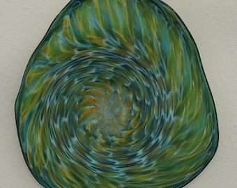 Beautiful Hand Blown Glass Art Wall Platter Bowl Aqua/Gold 4667 ONEIL