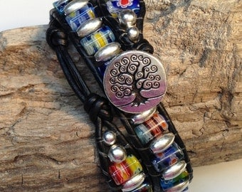 Millefiori and Silver Beaded Leather Wrap Bracelet
