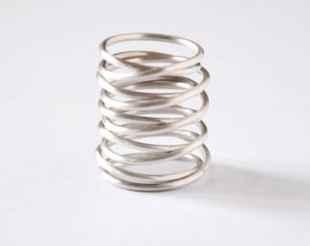 sterling silver armor ring - statement ring