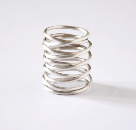 statement silver ring handmade sterling silver armor ring