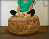 Crochet pattern, pouf pattern, crochet foot stool, crochet pouf, bean bag chair, newborn posing pillow, crochet stash buster, pillow