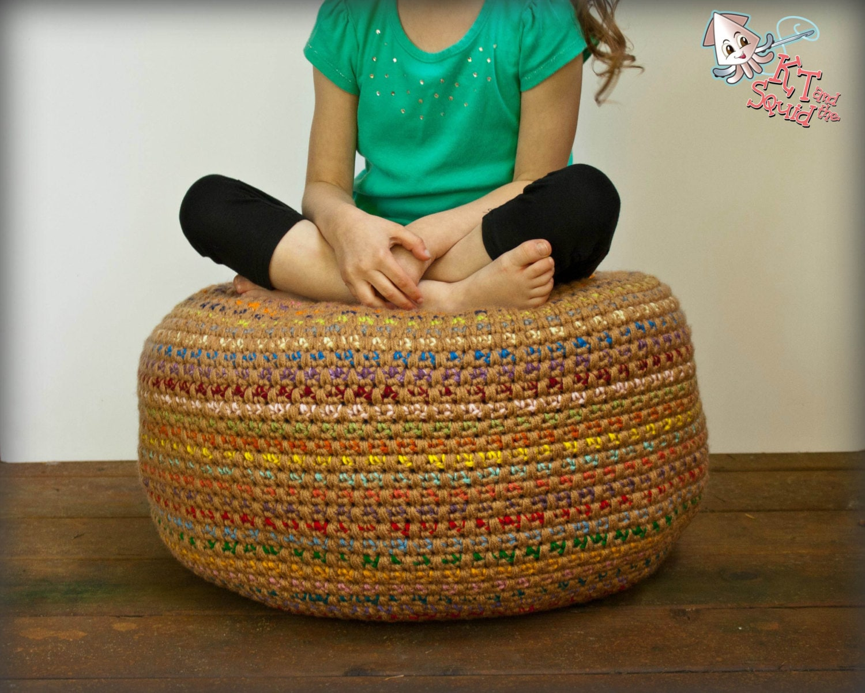 How to make bean bag chairs - Crochet Pattern Pouf Pattern Crochet Foot Stool Crochet Pouf Bean Bag Chair