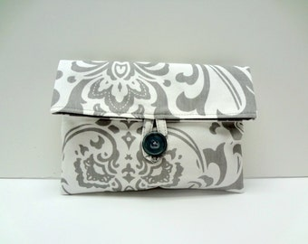 Gray Damask Clutch in Traditions Print from Premier Prints READY TO SHIP