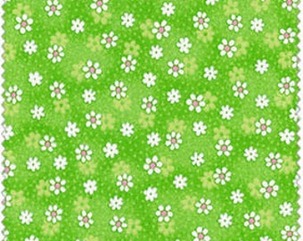 Daisies on Lime Green Cotton Quilt Fabric for Sale, Material by the Yard, EESCRC2076-LG, Fat Quarter, Yardage