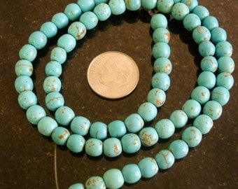 75+ Treated Magnesite created Turquoise 6mm round shaped beads 16 in BS054