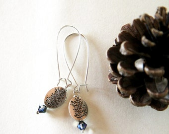 silver and blue earrings - metal beads and blue iridescent swarovski