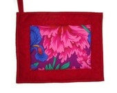 Oversized Quilted Pot Holder / Hot Pad -- Hot Pink Flower with Red Borders and Backing