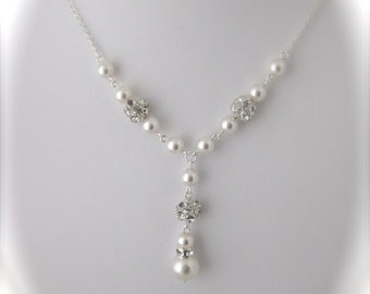 Bridal Pearl Necklace Wedding Jewelry Pearl and Rhinestone Necklace Bridal Jewelry
