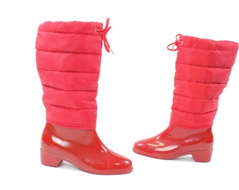 Vintage 80s Rain Boots Red Rubber Galoshes Quilted Slouch Lined Waterproof Winter Spring Fashion Footwear Size 9 Andrew Geller