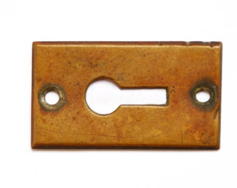 FREE SHIPPING Authentic Original Vintage Antique Brass KeyHole Escutcheon E1198