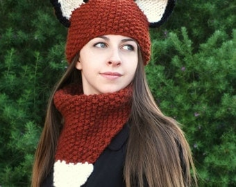 KNITTING PATTERN-Adult Fox Hat and Cowl Set