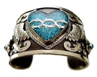 Silver Winged Heart Cuff Bracelet with Turquoise Glitter & Swarovski Crystals, Mexican Silver, Winged Heart Bracelet, Heart Cuff, Milagro