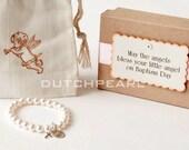 BAPTISM - Personalized religious kids jewelry bracelet with cross  - baby girl pearl bracelet - baby jewelry